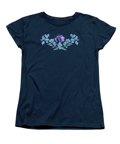 Iris And Forget Me Not Curved Garland Women's T-Shirt (Standard Cut) by Teresa Ascone