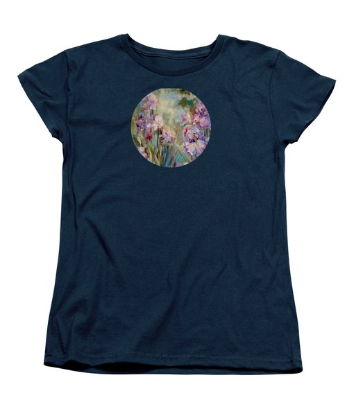 Women's T-Shirt (Standard Cut) featuring the painting Iris Garden by Mary Wolf