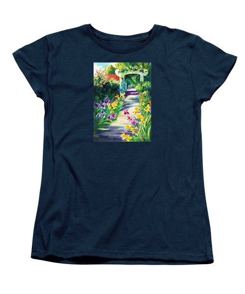 Women's T-Shirt (Standard Cut) featuring the painting Iris Garden Walkway   by Kathy Braud