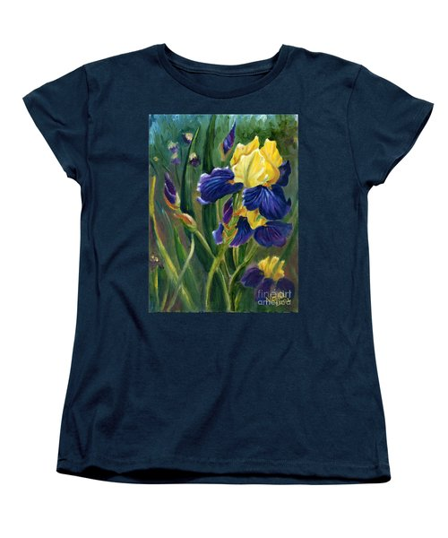 Women's T-Shirt (Standard Cut) featuring the painting Iris by Renate Nadi Wesley