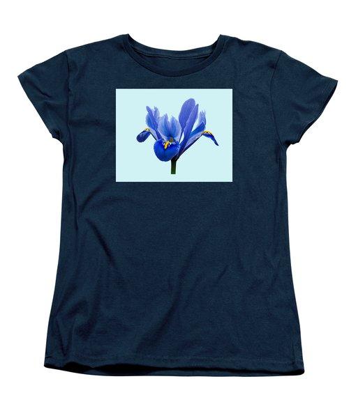 Women's T-Shirt (Standard Cut) featuring the photograph Iris Reticulata Blue Background by Paul Gulliver