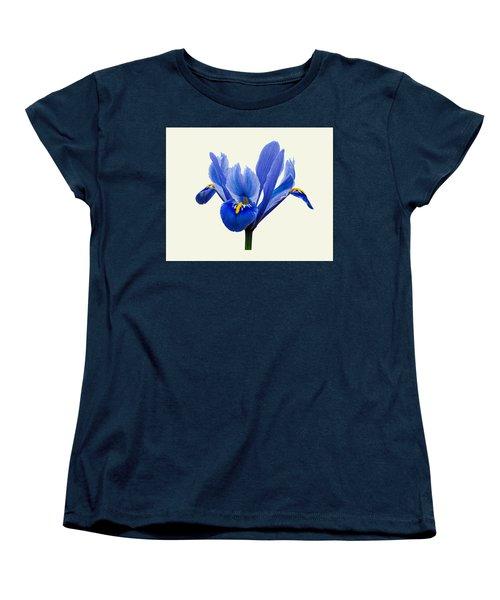 Women's T-Shirt (Standard Cut) featuring the photograph Iris Reticulata, Cream Background by Paul Gulliver