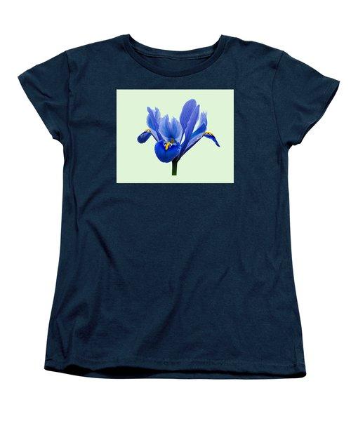 Women's T-Shirt (Standard Cut) featuring the photograph Iris Reticulata, Green Background by Paul Gulliver