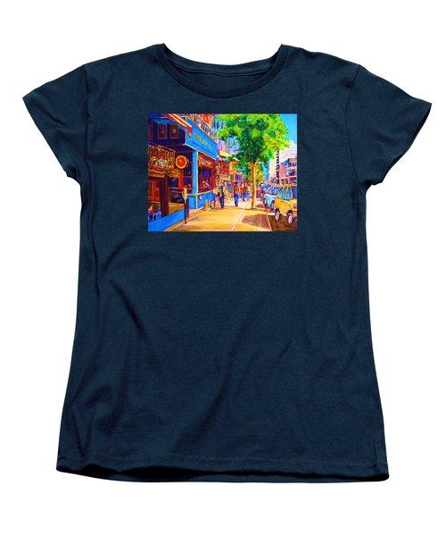 Women's T-Shirt (Standard Cut) featuring the painting Irish Pub On Crescent Street by Carole Spandau