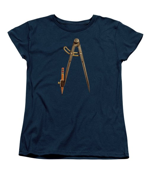 Iron Compass Back On Black Women's T-Shirt (Standard Fit)