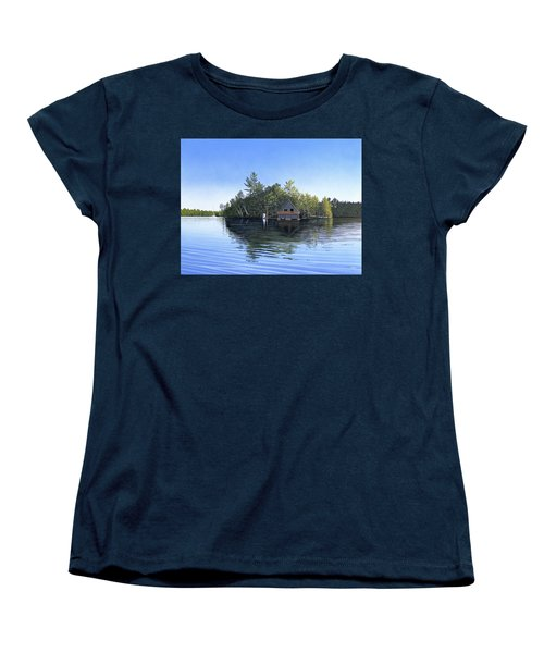 Women's T-Shirt (Standard Cut) featuring the painting Island Boathouse Muskoka  by Kenneth M Kirsch