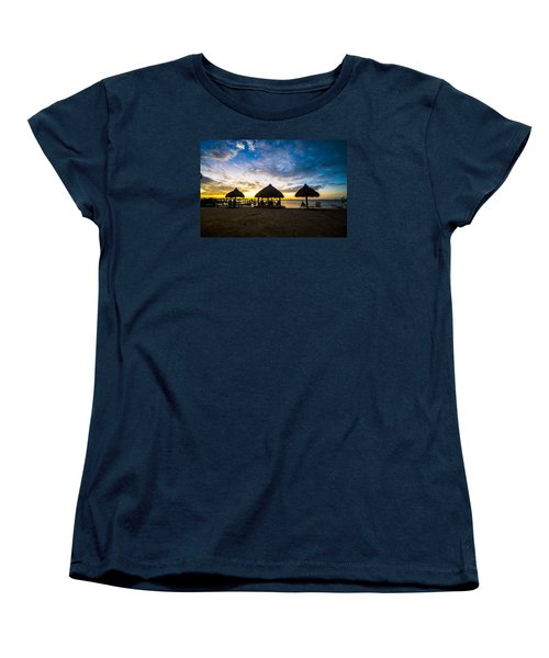 Island Huts Sunset Women's T-Shirt (Standard Cut) by Kevin Cable