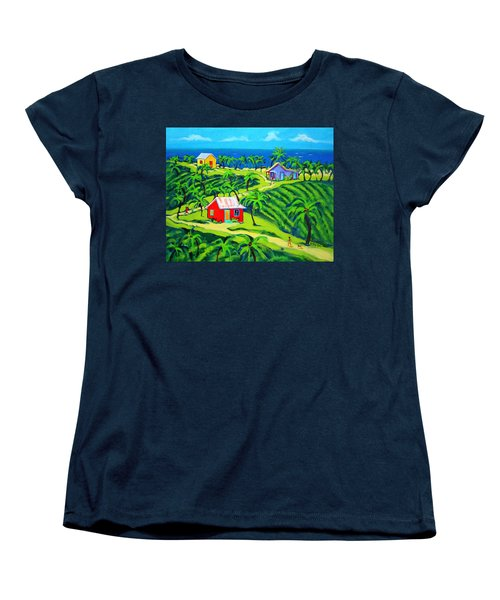 Island Time - Colorful Houses Caribbean Cottages Women's T-Shirt (Standard Cut) by Rebecca Korpita