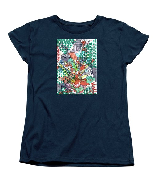 Women's T-Shirt (Standard Cut) featuring the mixed media It's A Jungle Out There by Lisa Noneman