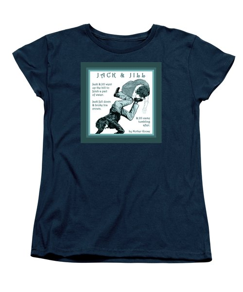 Jack And Jill Vintage Mother Goose Nursery Rhyme Women's T-Shirt (Standard Cut) by Marian Cates