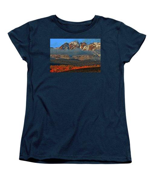 Women's T-Shirt (Standard Cut) featuring the photograph Jagged Peaks Fall by Scott Mahon