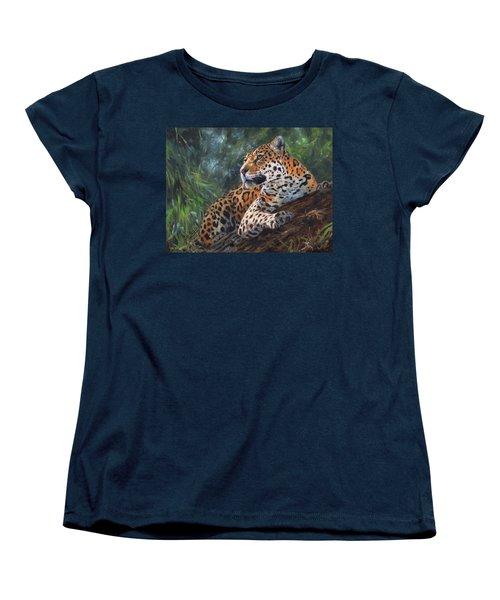 Jaguar In Tree Women's T-Shirt (Standard Cut) by David Stribbling