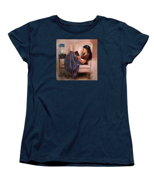 Women's T-Shirt (Standard Cut) featuring the painting Jaidyn Reading A Book 2 - Portrait Of Woman by Karen Whitworth