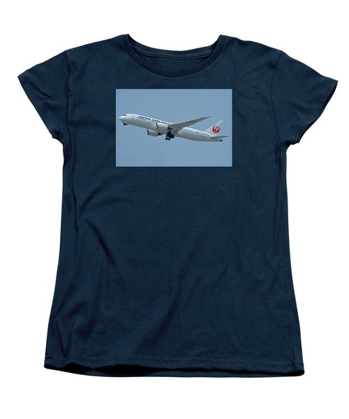 Women's T-Shirt (Standard Cut) featuring the photograph Japan Airlines Boeing 787-8 Ja835j Los Angeles International Airport May 3 2016 by Brian Lockett