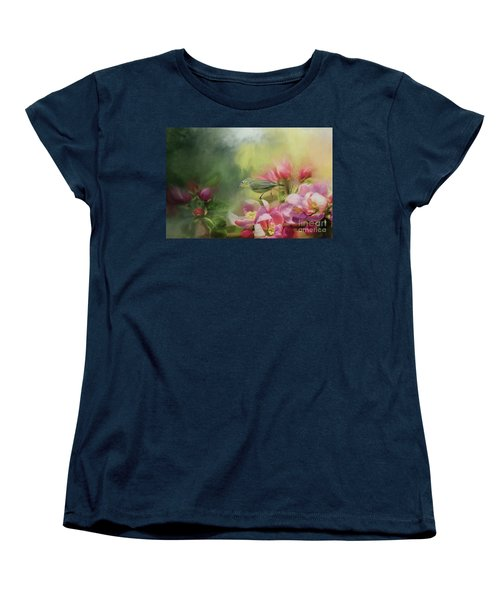 Japanese White-eye On A Blooming Tree Women's T-Shirt (Standard Cut) by Eva Lechner