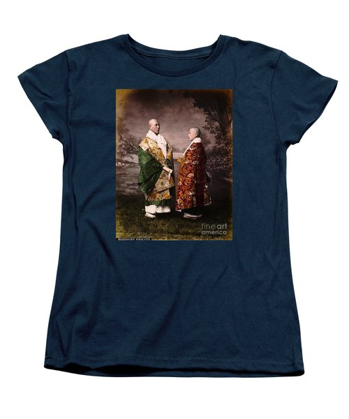 Women's T-Shirt (Standard Cut) featuring the painting Japanese Zen Buddhist Priests Circa 1880 by Peter Gumaer Ogden
