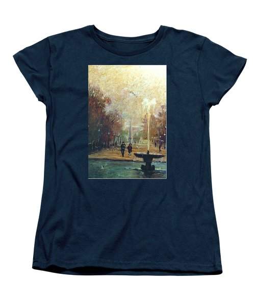 Women's T-Shirt (Standard Cut) featuring the painting Jardin Des Tuileries by Walter Casaravilla