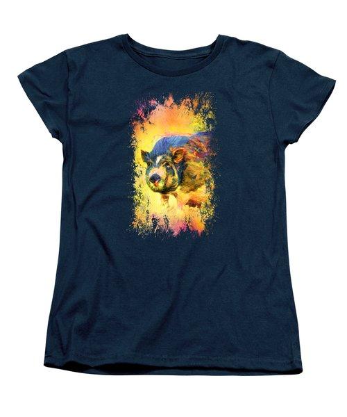 Jazzy Pig Colorful Animal Art By Jai Johnson Women's T-Shirt (Standard Cut) by Jai Johnson