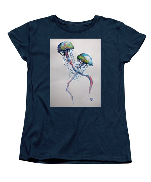 Women's T-Shirt (Standard Cut) featuring the painting Jellyfish by Edwin Alverio