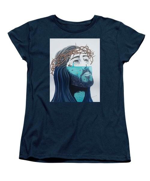 Women's T-Shirt (Standard Cut) featuring the painting Jesus Walks On The Water by Edwin Alverio
