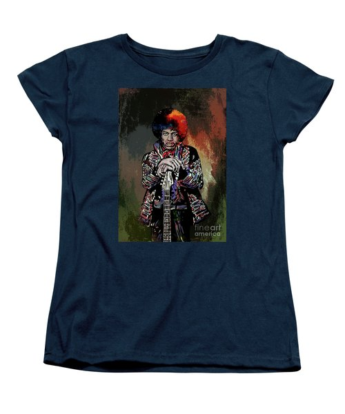 Women's T-Shirt (Standard Cut) featuring the painting Jimi  by Andrzej Szczerski