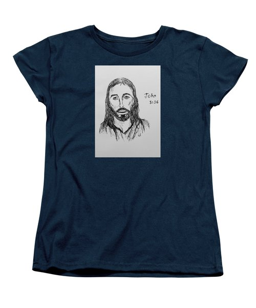 Women's T-Shirt (Standard Cut) featuring the drawing John 3 16 by Victoria Lakes