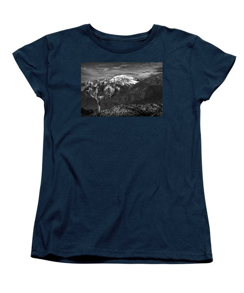 Women's T-Shirt (Standard Cut) featuring the photograph Joshua Tree At Keys View In Black And White by Randall Nyhof
