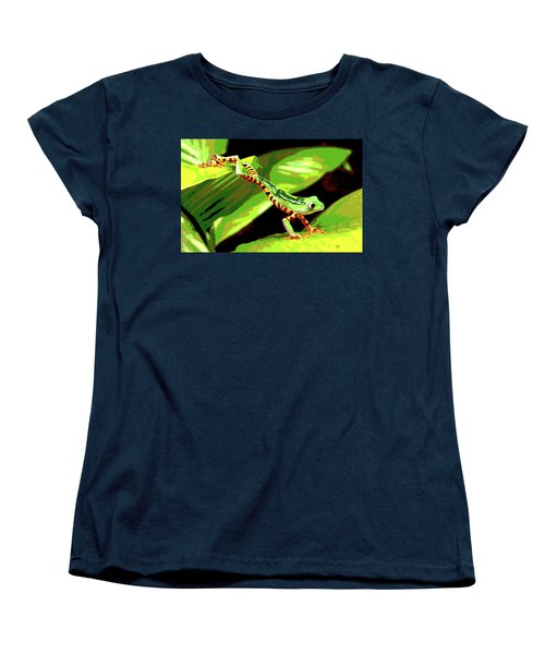 Women's T-Shirt (Standard Cut) featuring the mixed media Jumping Frog by Charles Shoup