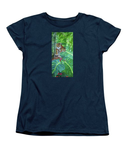 Women's T-Shirt (Standard Cut) featuring the painting Jungle Jaguar by Ellen Levinson
