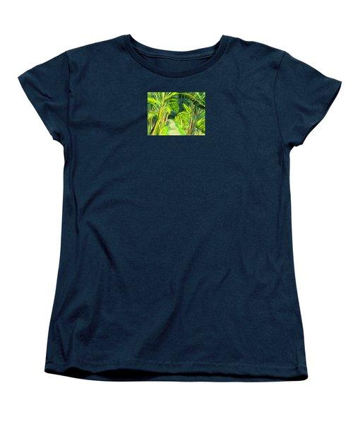 Women's T-Shirt (Standard Cut) featuring the digital art Jungle Path by Jean Pacheco Ravinski