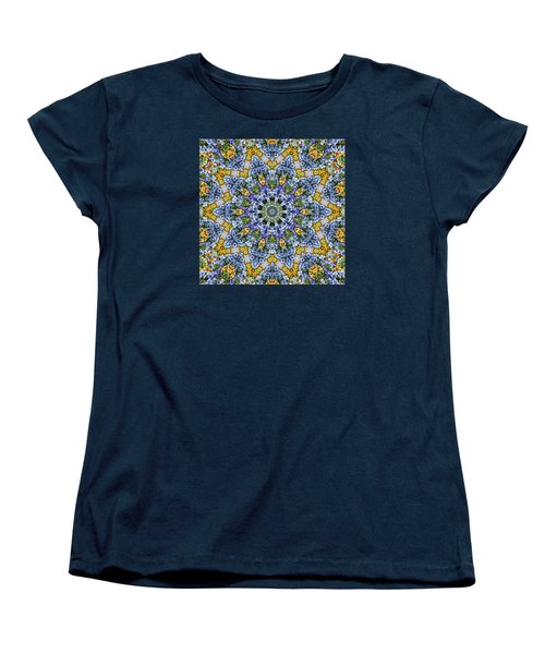 Kaleidoscope - Blue And Yellow Women's T-Shirt (Standard Cut) by Nikolyn McDonald