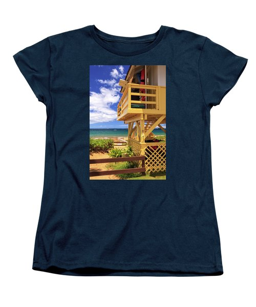 Women's T-Shirt (Standard Cut) featuring the photograph Kamaole Beach Lifeguard Tower by James Eddy