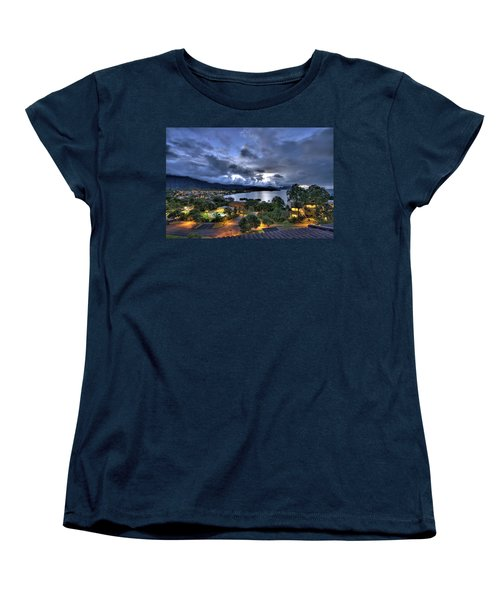 Kaneohe Bay Night Hdr Women's T-Shirt (Standard Cut) by Dan McManus
