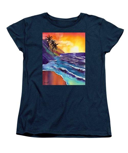 Kauai Na Pali Sunset Women's T-Shirt (Standard Cut) by Marionette Taboniar