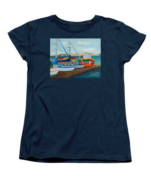 Women's T-Shirt (Standard Cut) featuring the painting Kayak Shack Morro Bay California by Katherine Young-Beck
