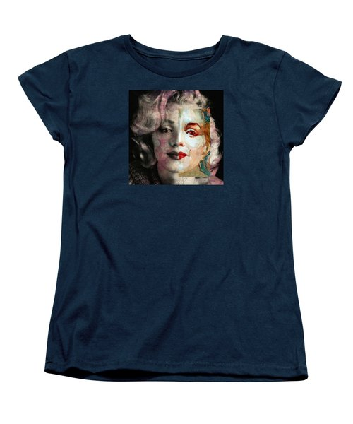 Women's T-Shirt (Standard Cut) featuring the painting Keep Me Safe Lie With Me Stay Beside Me Don't Go by Paul Lovering