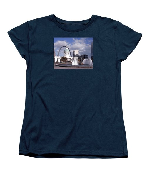 Women's T-Shirt (Standard Cut) featuring the photograph Kiener Plaza - St Louis by Harold Rau