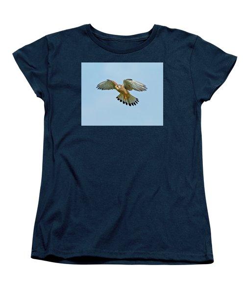 Women's T-Shirt (Standard Cut) featuring the photograph Kestrel In The Wind . by Paul Scoullar