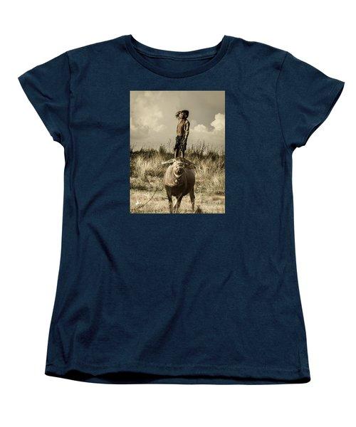 Women's T-Shirt (Standard Cut) featuring the photograph Kid And Cow by Arik S Mintorogo