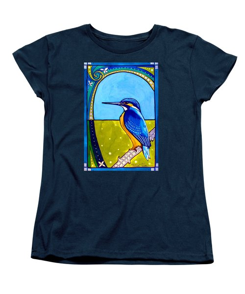Kingfisher Women's T-Shirt (Standard Cut) by Dora Hathazi Mendes