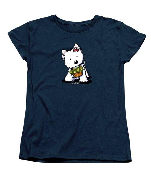 Kiniart Flower Basket Westie Women's T-Shirt (Standard Cut)