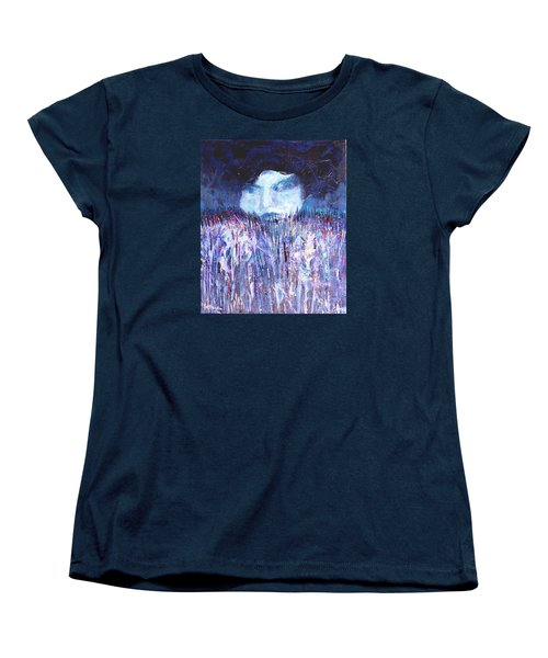 Women's T-Shirt (Standard Cut) featuring the painting Kiss Of The Silver Moon by Seth Weaver