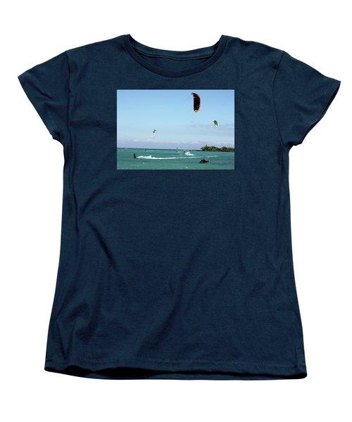 Kite Surfers And Maui Women's T-Shirt (Standard Cut) by Karen Nicholson