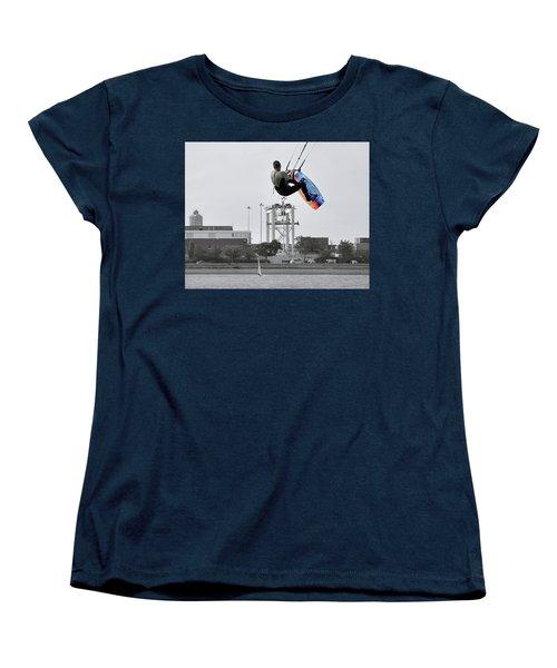 Kitesurfer Catching Air Women's T-Shirt (Standard Cut) by Joanne Brown