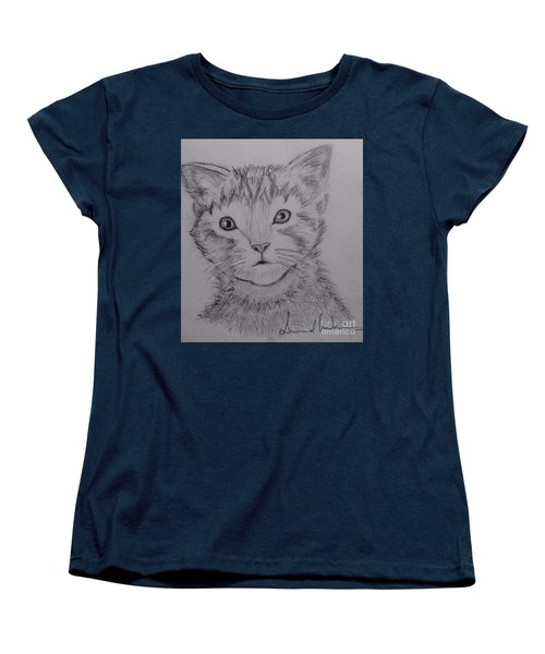Women's T-Shirt (Standard Cut) featuring the painting Kitten by Brindha Naveen