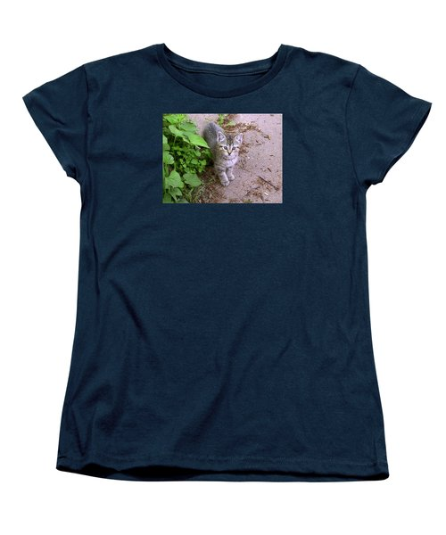 Kitten On The Patio Women's T-Shirt (Standard Cut) by Larry Capra