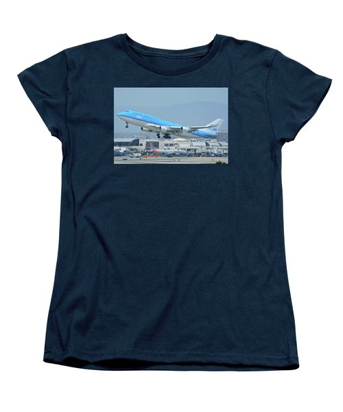 Women's T-Shirt (Standard Cut) featuring the photograph Klm Boeing 747-406m Ph-bfh Los Angeles International Airport May 3 2016 by Brian Lockett