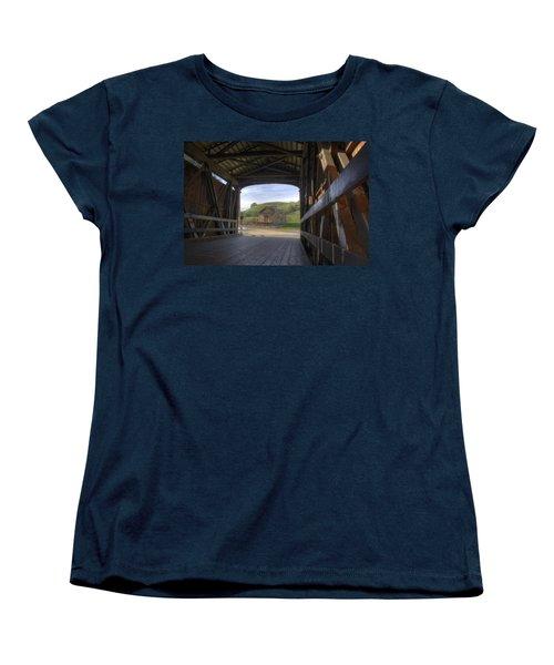 Knights Ferry Covered Bridge Women's T-Shirt (Standard Cut) by Jim and Emily Bush