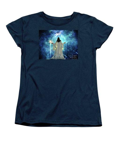 Women's T-Shirt (Standard Cut) featuring the digital art Knocking On Heavens Door by Dolores Develde