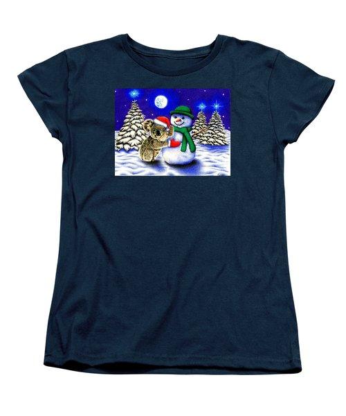 Koala With Snowman Women's T-Shirt (Standard Cut) by Remrov
